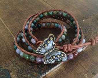Indian Agate Tripple Leather Wrap Bracelet with Butterfly clasp