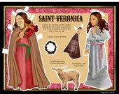 St. Veronica and her veil from Christ's passion Catholic DIY print and cut digital download paper doll set
