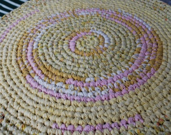 Yellow and Pink handmade circle rug
