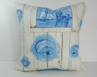 Beach Pillow Cover, Blue and White Seashore Pillow Cushion, Nautical Pillow, 18 x 18