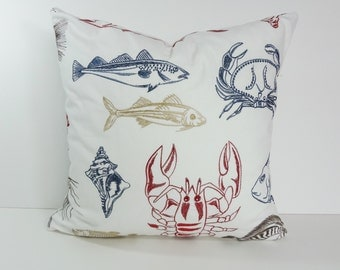 Pillow Cover, Red, White and Blue Pillow Cushion, Lobster, Crab, Fish, Throw Pillow Cover