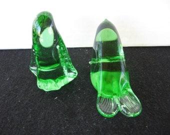 Green glass figurines  Art glass  paperweights