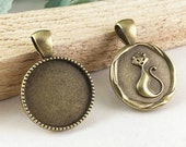 Cabochon Base Setting -15pcs Antique Bronze Round Cameo Tray Charm Pendants 20mm G207-3
