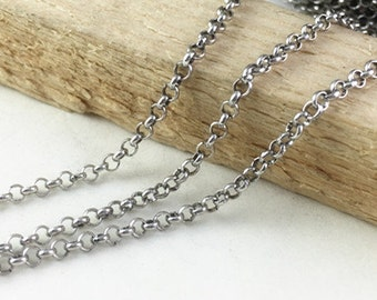 32ft 10 meters 2.5mm Antique Silver Round Cable Link Chain Jewelry Findings