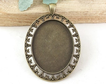 Cabochon Base -5pcs Antique Bronze Cabochon Base Setting Tray Charm Pendants 30x40mm G402-6