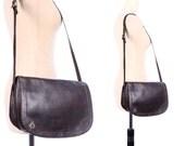 Leather Satchel Bag 70s BROWN DISTRESSED Medium Saddle Shoulder Bag Hippie Woman Real Leather Purse Handbag Boho Chocolate Brown Pouch