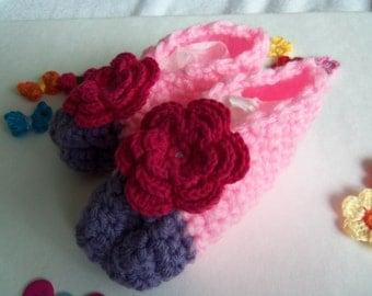 Pink and Purple Crochet Baby Booties