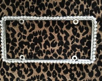 Bling License Plate Frame - White Glass Pearl Beaded #A233176070