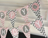 Happy Birthday Pennant Flag Pink & Grey Chevron Bird Birdie 1st Year Theme Banner - Ask About Our Party Pack Specials