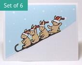 Holiday Christmas Cards - Sledding Bunny Rabbit Card (Set of 6)