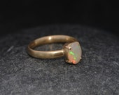 Opal Ring in 18K Gold- 18K Gold White Opal Ring - Opal Engagement Ring - Oval Opal Ring - Hand Made Opal Gold Ring - US Size 6 Ready to Ship