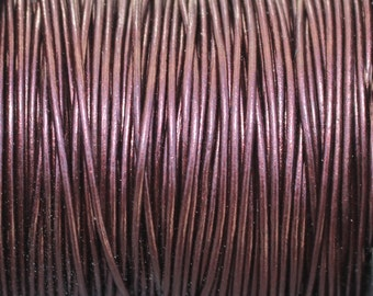 1mm Metallic Maroon Genuine Leather 1.0mm Round Cord Burgandy - 2 Yard Increments