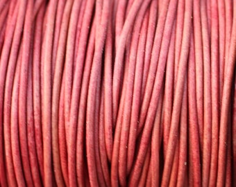 1mm Pink Natural Dye Leather Cord Round - 1.0mm - 2 Yard Increments