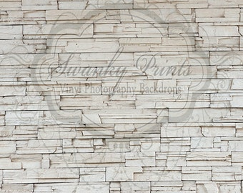 NEW 5ft x 5ft Vinyl Photography Backdrop / Off White Stone Wall