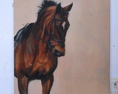 Original energy and movement equine dressage oil sketch on canvas horse movement art drawing 'Study III' by H Irvine
