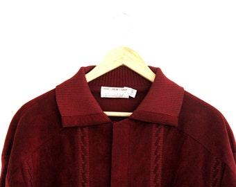Vintage Mens Sweater Shirt Wool Ultrasuede Maroon Knott's Berry Farm Bob's Men Shop Extra Large 1970s RARE