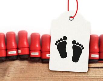 Mini Footprint Rubber Stamp