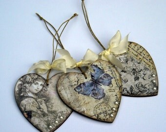 Decoupage Hanging  Wooden Hearts