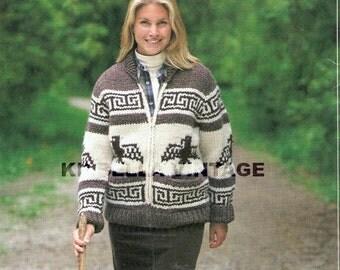 Cowichan Sweater White Buffalo Wool Thunder Bird  Knitting PATTERN  Digital  Instant download on Etsy
