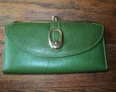 Great Green Cowhide Leather Wallet with Brass Clasp and Buckle in Mint Condition for a checkbook and change with wonderful retro appeal