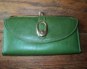 Vintage Green Leather Wallet with Brass Clasp and Buckle in Mint Condition for a checkbook and change with wonderful retro appeal