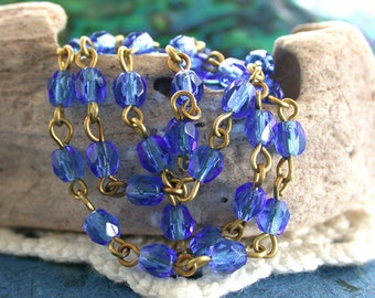 4mm Quality Czech Fire Polished Glass Beaded Chain, Rosary Chain, Beaded Chain, Sapphire Blue Rosary Chain, Raw Brass Chain CHN-166