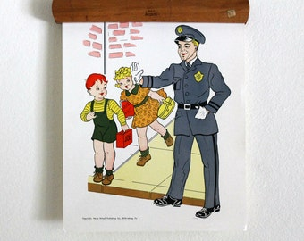 vintage 1950's classroom poster --People in the Neighborhood -The Policeman// Hayes School Publishing
