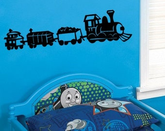 kids room Boys Train caboose Engine Vinyl Wall lettering Decal 39+ Colors & Large Sizes Available