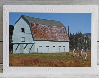 Blue Weathered Barn Photo Greeting Card, Rural Scene in Okanagan Valley, British Columbia, Fine Art Photography, Any Occasion Notecard