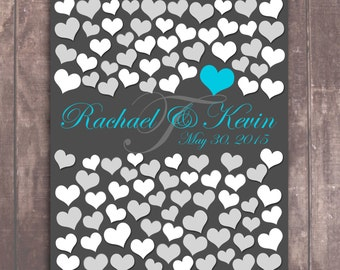 Grey Engagement poster with Teal highlights, Perfect bridal or wedding gift for bride and groom 100 Guests at your wedding size 20x24 _04