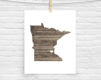 Missouri or ANY STATE Natural Art Print - Home Sweet Home - Custom Personalized Heart Print Hometown Wall Art Gift Souvenir