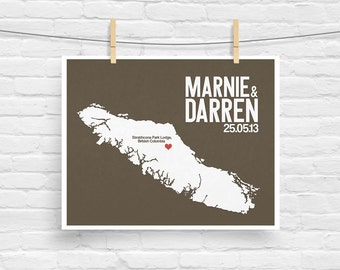 Vancouver BC Canada Personalized Wedding Art Print - State Map - Bride & Groom Names Date - Housewarming - Any State Available