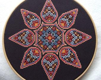 Desert Gypsy Mandala Cross Stitch PDF Chart Pattern Instant Download  Whole Stitches Only and Beading Geometric