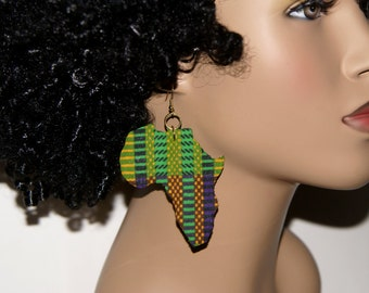 Fabric Covered Wood Earrings-Africa 2