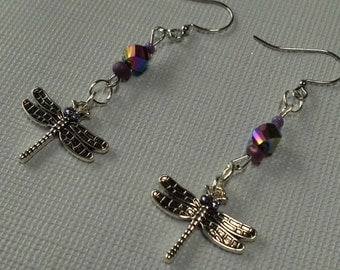 Silver Dragonfly Earrings, Unique Faceted AB Purple Prism Crystals, Spring  Dragonfly Dangling Earrings, Spring Jewelry Sale,