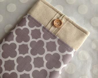 ipad mini case - ipad mini sleeve - ereader case- Kindle Fire cover - ipad mini cover / gray quatrefoil fabric - Ready To Ship