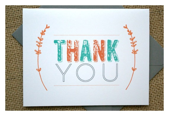 branch thank you notes baby shower thank yous orange teal gray