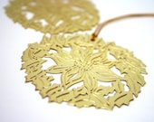 Gold poinsettia ornament, filigree flower, vintage Christmas, gift tag, holidays, gift wrapping, craft project, xmas bling, CIJ craft supply