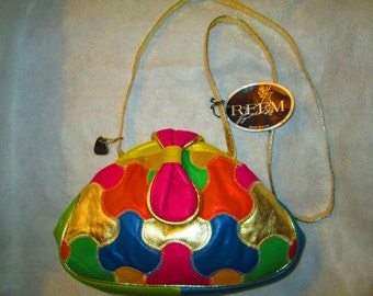 1980's Ladies Colorful Leather Patchwork Shoulder Bag by REEMS