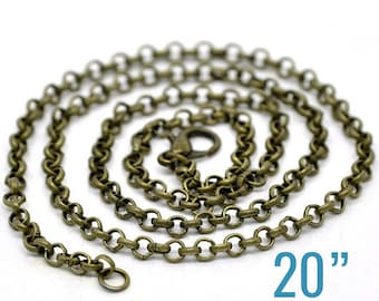 "12 Rolo Necklaces - WHOLESALE - Antique Bronze - 3.2x0.5mm - 20"" Long  - Ships IMMEDIATELY from California - CH459a"