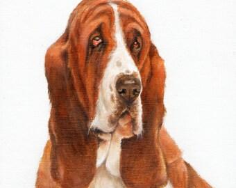 New Original Oil DOG Portrait Painting BASSET HOUND Art Puppy Artist Signed Artwork