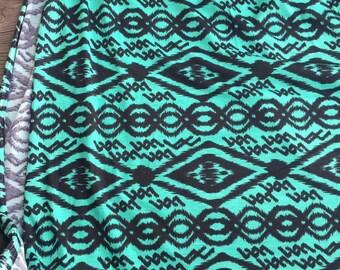Spun Poly/Lycra Fashion Knit - Teal/Black Aztec