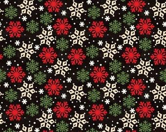 Wilmington Prints - Peppermint Santas - Snowflake Toss Black