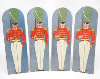 Four Antique Toy Soldiers Lithograph on Wood, Vintage Christmas Stand Up Toys