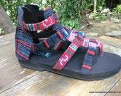 Boho Womens Sandals In Fuchsia Hmong Embroidery And Indigo Batik Vegan Summer Gladiator Shoes - Isadora