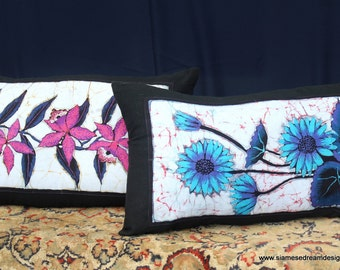 Lumbar Pillow In Sri Lankan Hand Drawn Batik With Flowers Boho Cushion 2 Patterns