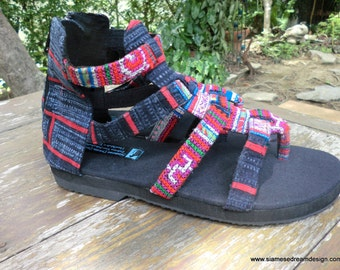 Boho Womens Sandals In Fuchsia Hmong Embroidery And Indigo Batik Vegan Summer Gladiator Shoes - Isadora