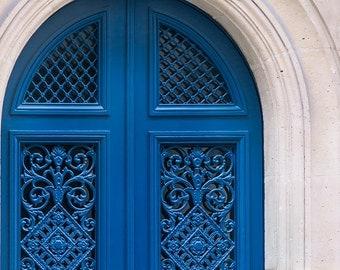 Paris Photograph - Blue Door 33, French Decor, Architectural Fine Art Photograph, Urban Home Decor