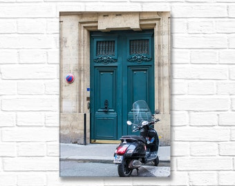 Paris Photography on Canvas - Blue Door With Scooter, Gallery Wrapped Canvas, Architectural Urban Home Decor, Large Wall Art