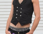 LIMITED EDITION Mens Dapper Double Breasted Pink Pinstripe stretch vest with Silver Sri yantra Buttons Leopard Lapels